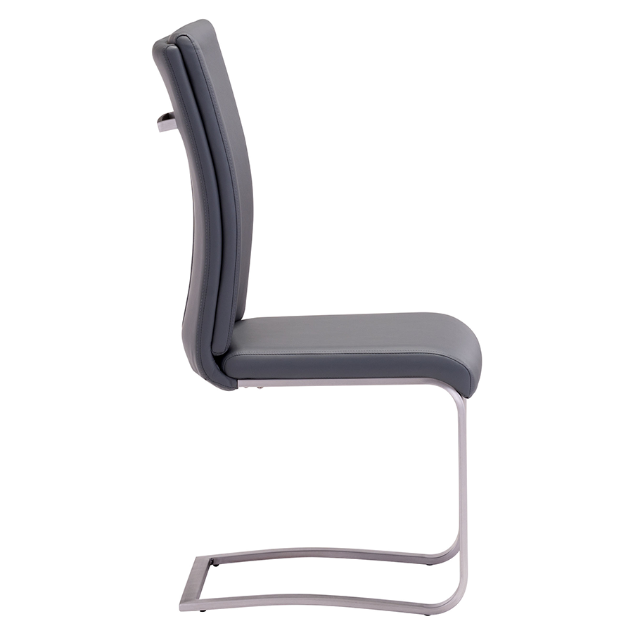 Radka Gray Leatherette Modern Dining Chair