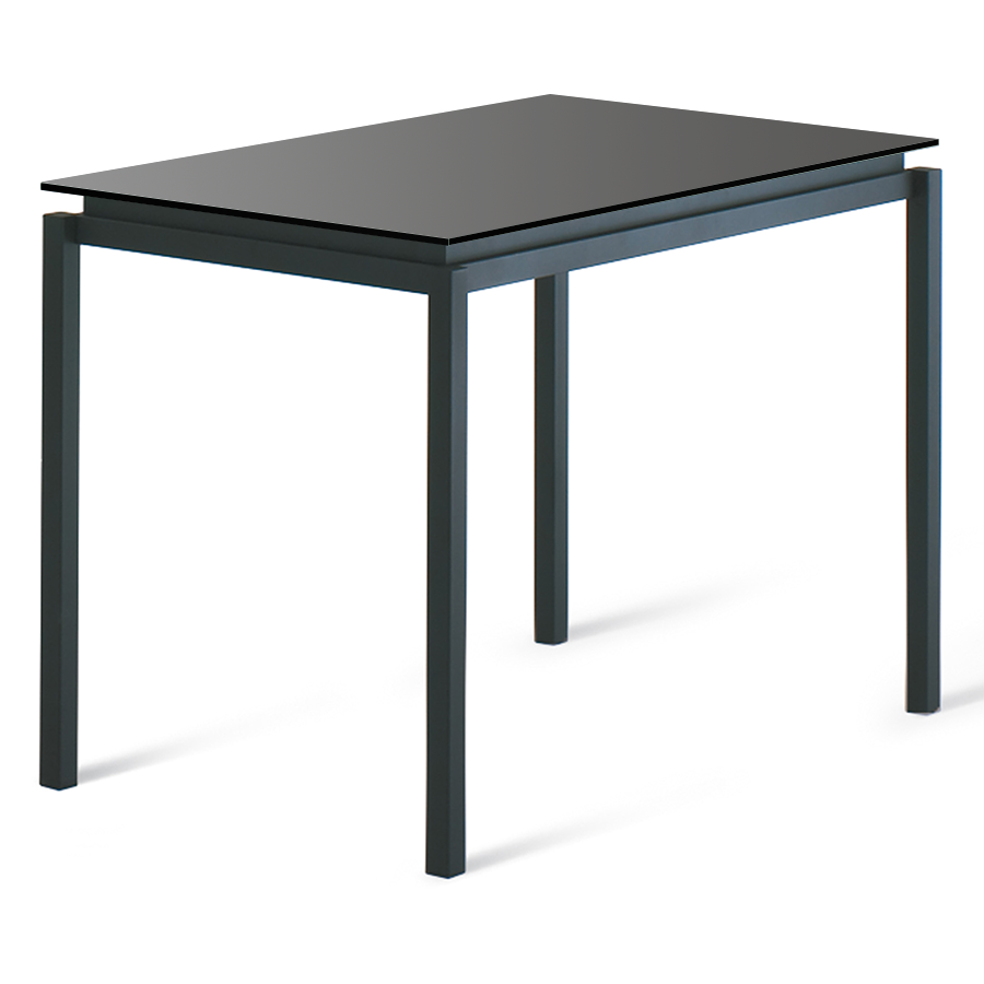 Contemporary bar height table - Raiden Black Glass Metal Modern Bar Height Table