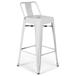 Raleigh Modern White Low Back Bar Stool