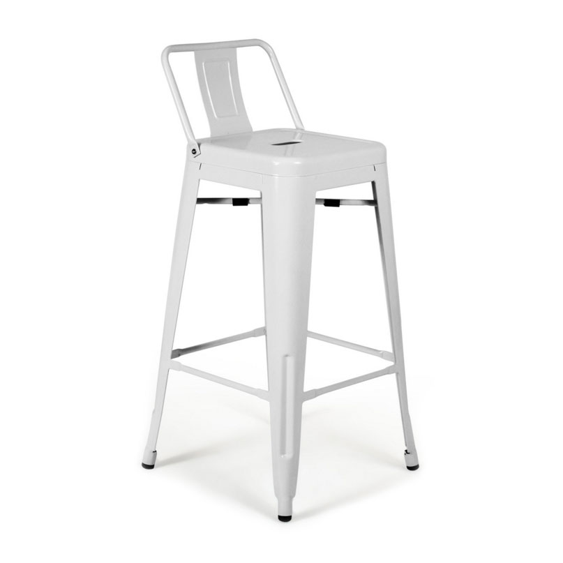 Raleigh Modern White Low Back Counter Stool
