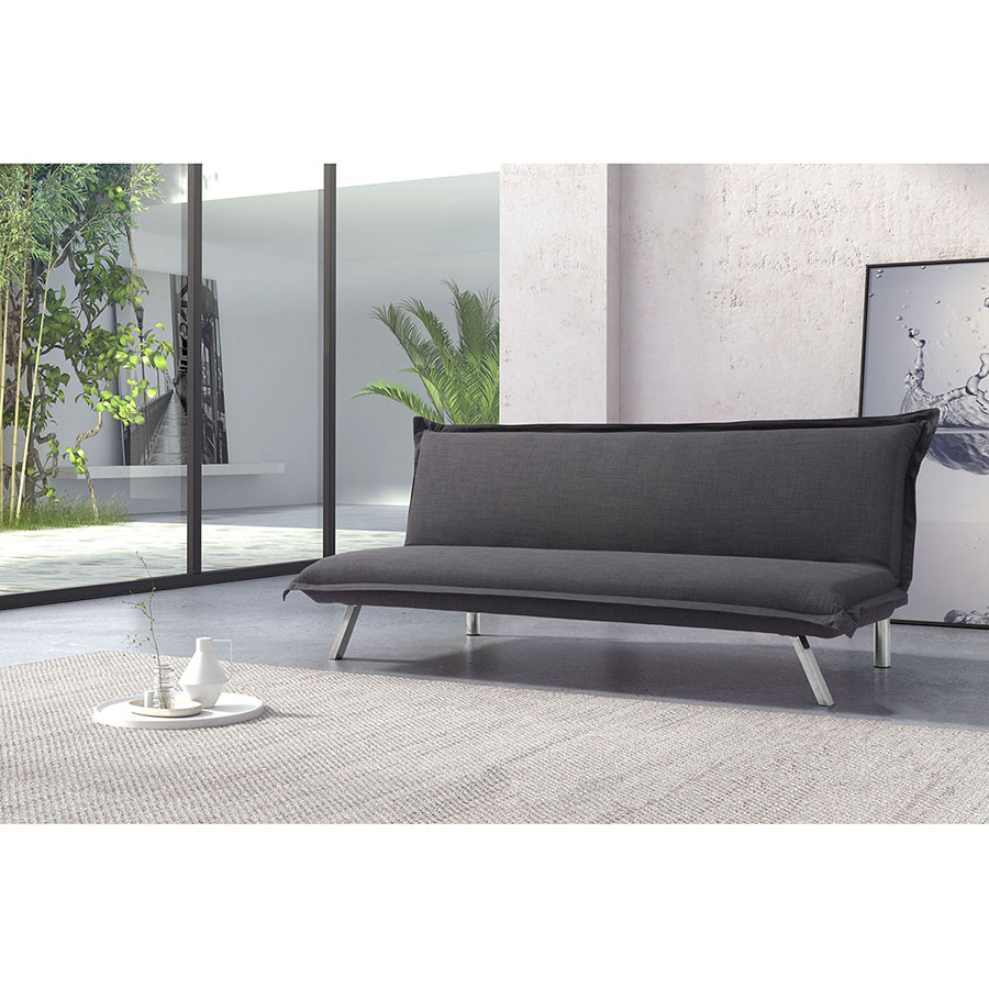 Ramon Graphite Fabric + Polished Steel Modern Sleeper Sofa