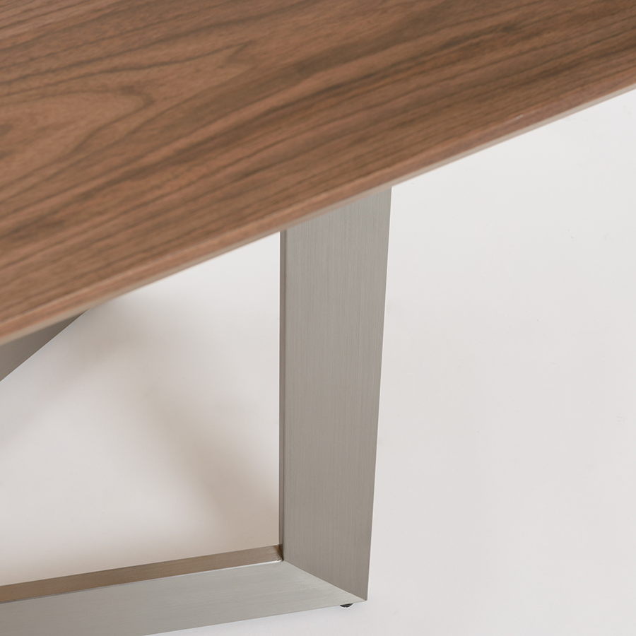 Rayden Walnut + Brushed Steel Modern Dining Table Detail
