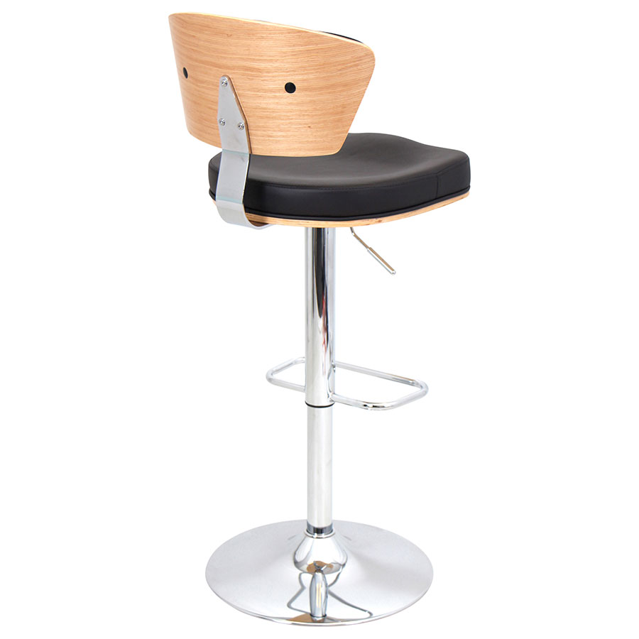 Remy Espresso + Chrome Contemporary Adjustable Stool