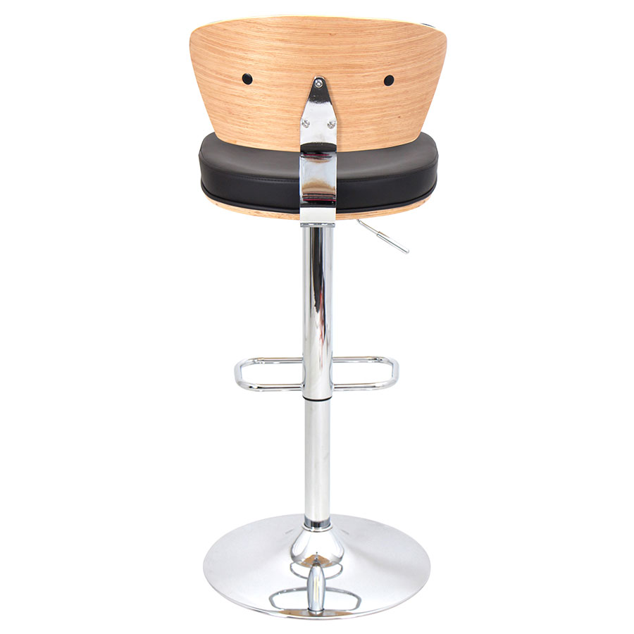 Remy Espresso + Bamboo + Chrome Adjustable Modern Stool