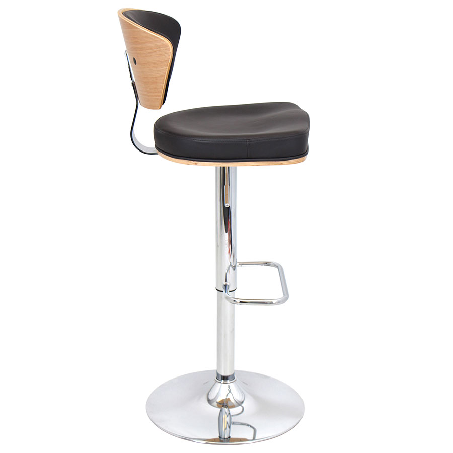 Remy Espresso + Chrome Modern Adjustable Stool