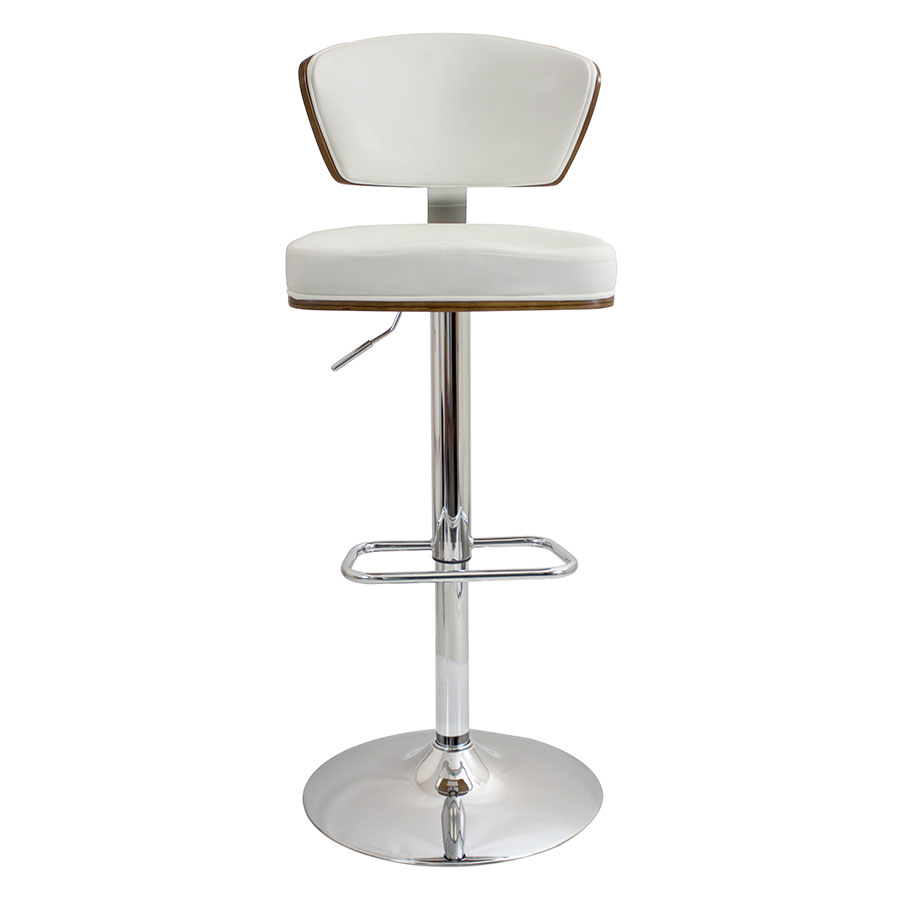Remy White Contemporary Adjustable Stool