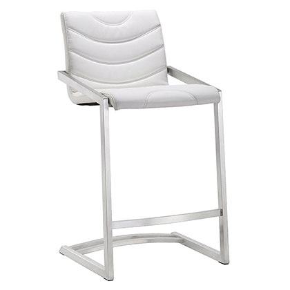 Renee White Leatherette Modern European Counter Stool