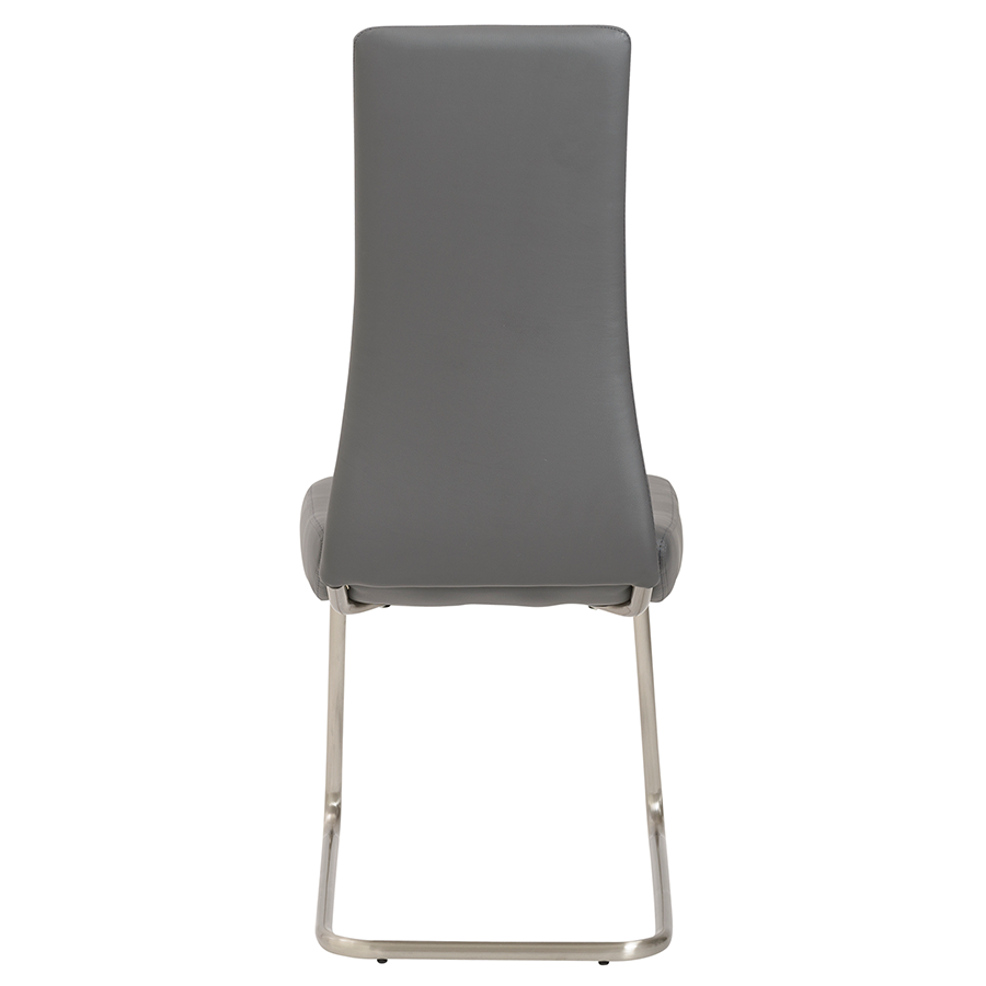 Rhea Gray Leatherette + Brushed Steel Modern Dining Chair