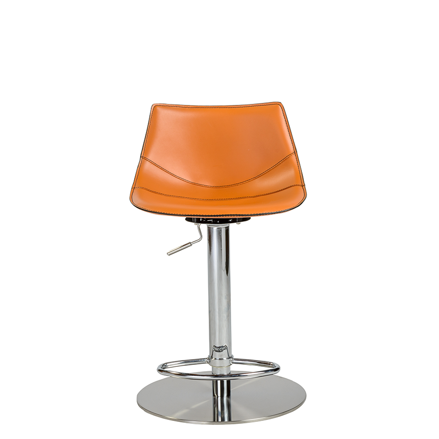 Rudy Cognac Leather Modern Adjustable Stool