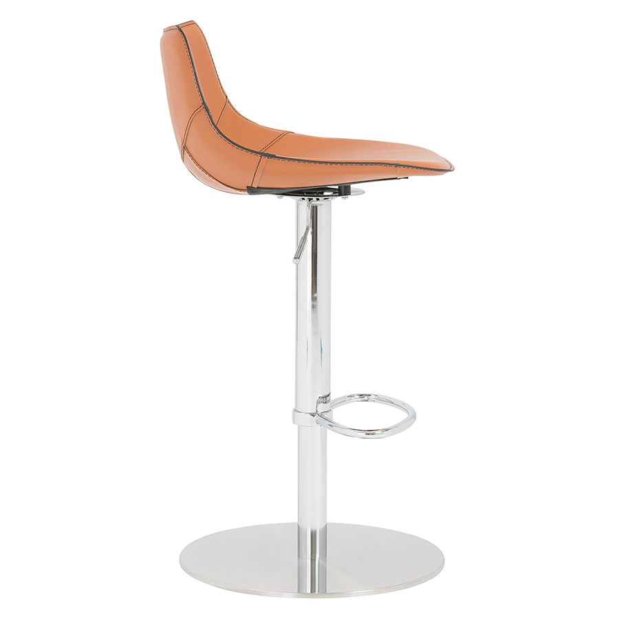 Rudy Cognac Leather Contemporary Adjustable Stool