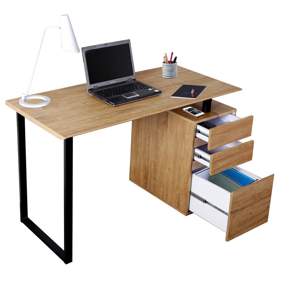 Rutherford Contemporary Desk with File - Drawers Open