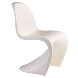 S-Shaped Matte White Classic Modern Side Chair