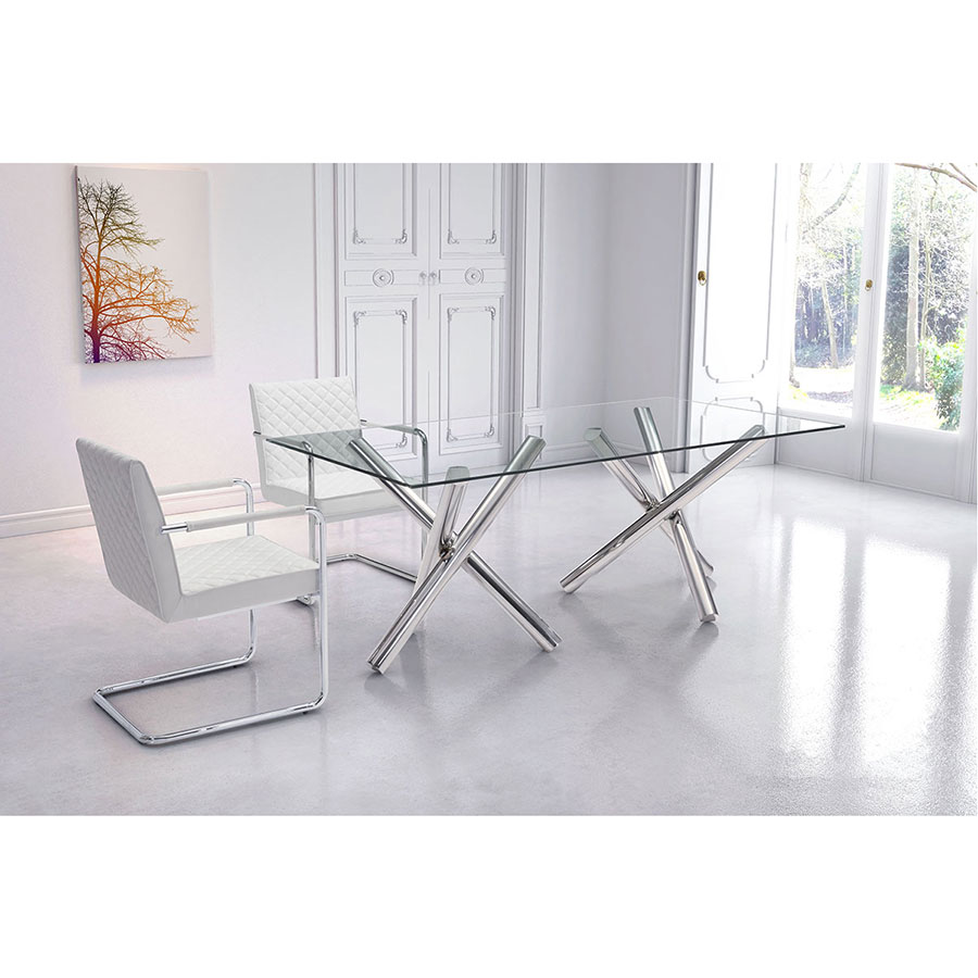Saana Chrome + Glass Contemporary Dining Table