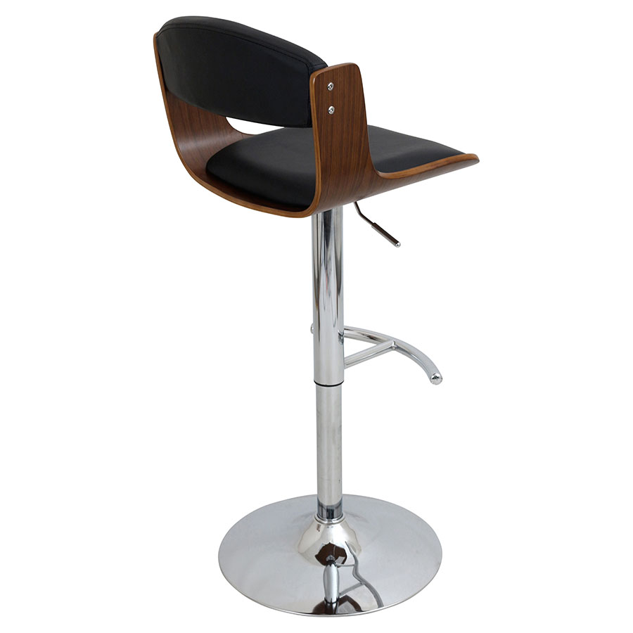Sabina Black + Walnut Contemporary Adjustable Stool