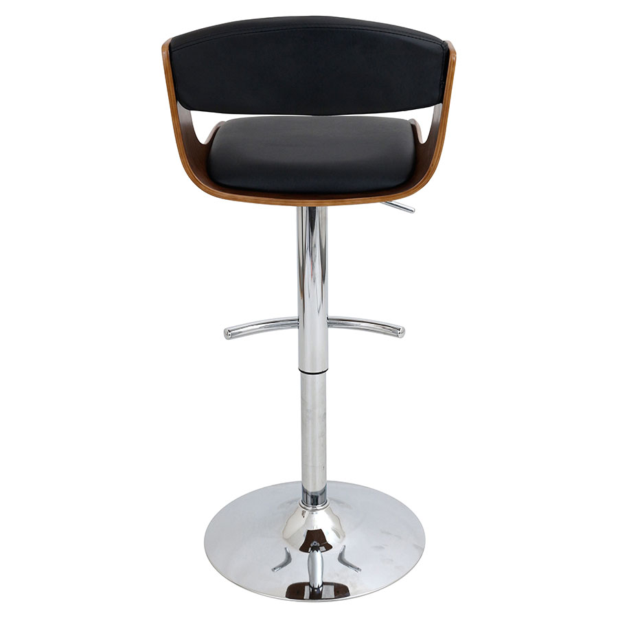 Sabina Black + Walnut + Chrome Modern Adjustable Stool