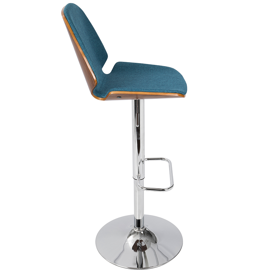 Safiya Blue Fabric Modern Adjustable Stool