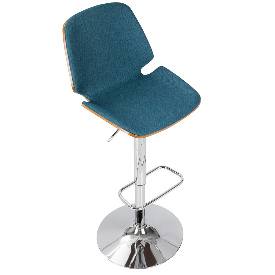 Safiya Blue Fabric + Chrome Contemporary Adjustable Stool
