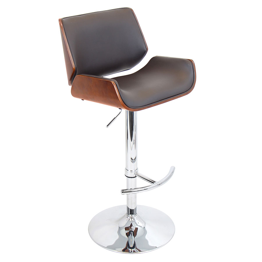 Saga Brown Adjustable Modern Bar Stool
