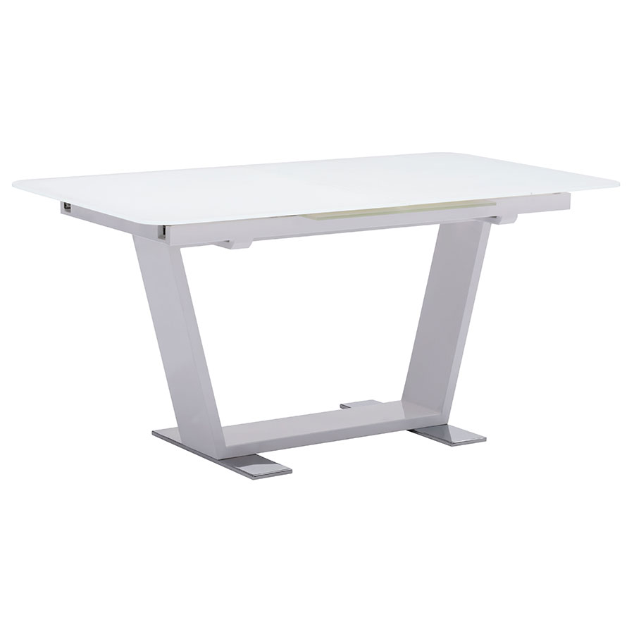 Sagan Modern White Glass Extension Table - Closed