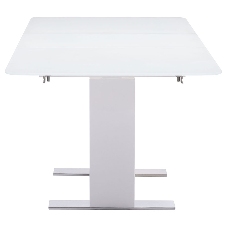 Sagan Modern White Glass Extension Table - End View