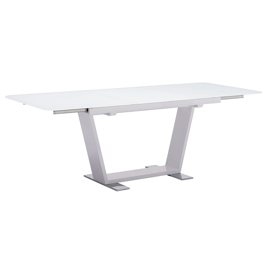 Sagan Modern White Glass Extension Table