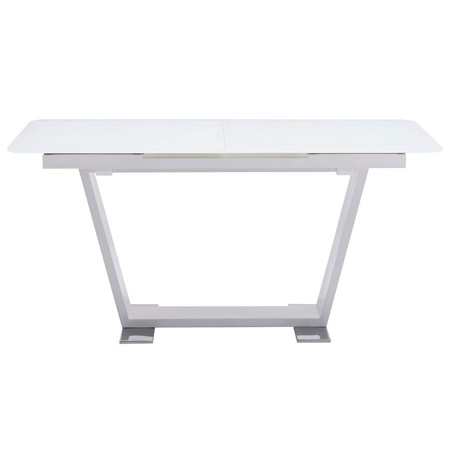 Sagan Modern White Glass Extension Table - Closed Side View