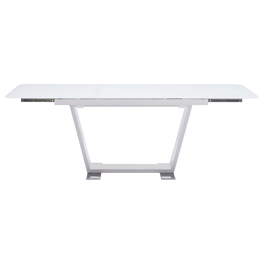 Sagan Modern White Glass Extension Table - Open Side View