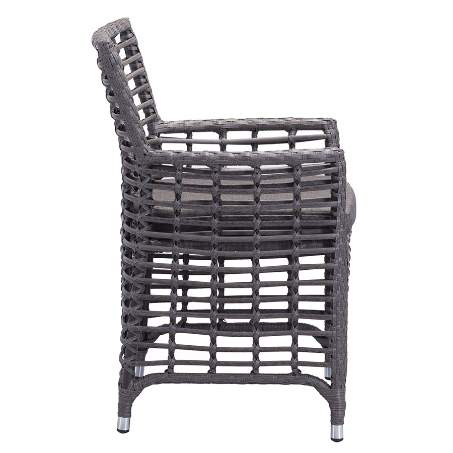 Samir Modern Gray Open Weave Outdoor Arm Chair