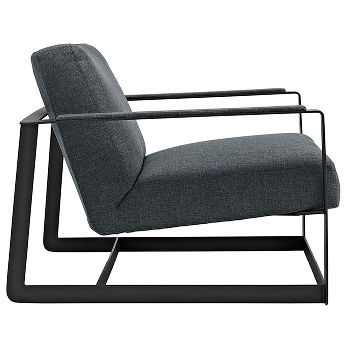 San Diego Modern Gray Lounge Chair - Side View