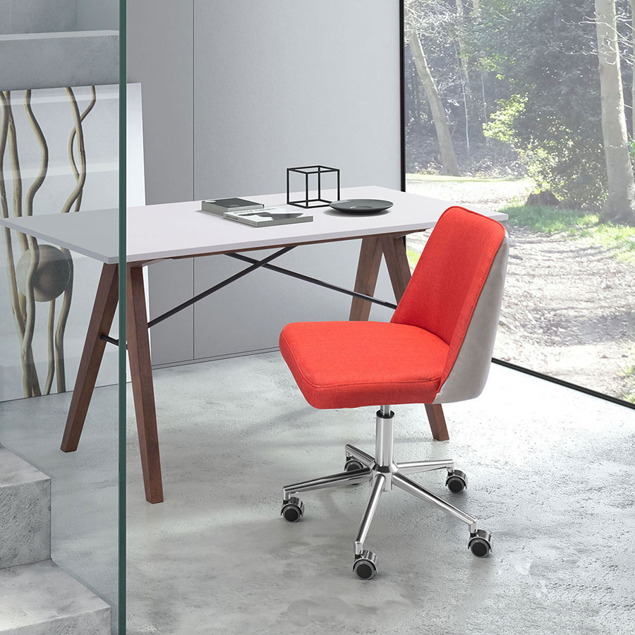 Sandrine Orange Fabric + Leatherette Modern Office Task Chair
