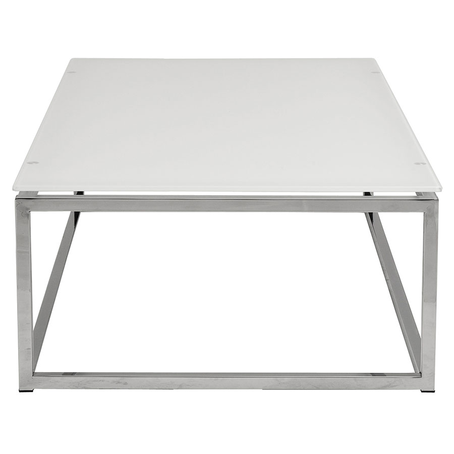Sara Modern Cocktail Table with White Glass - Side View