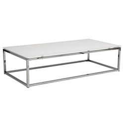 Sara Modern Cocktail Table with White Glass