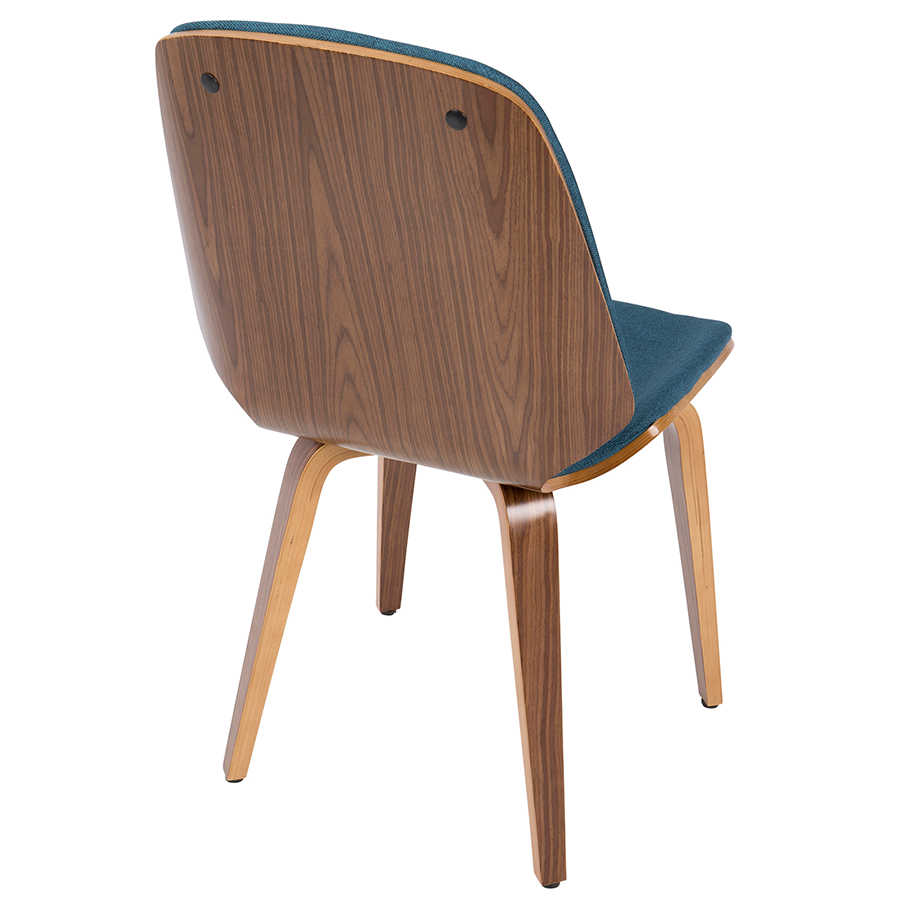 Satchel Blue + Walnut Contemporary Side Chair