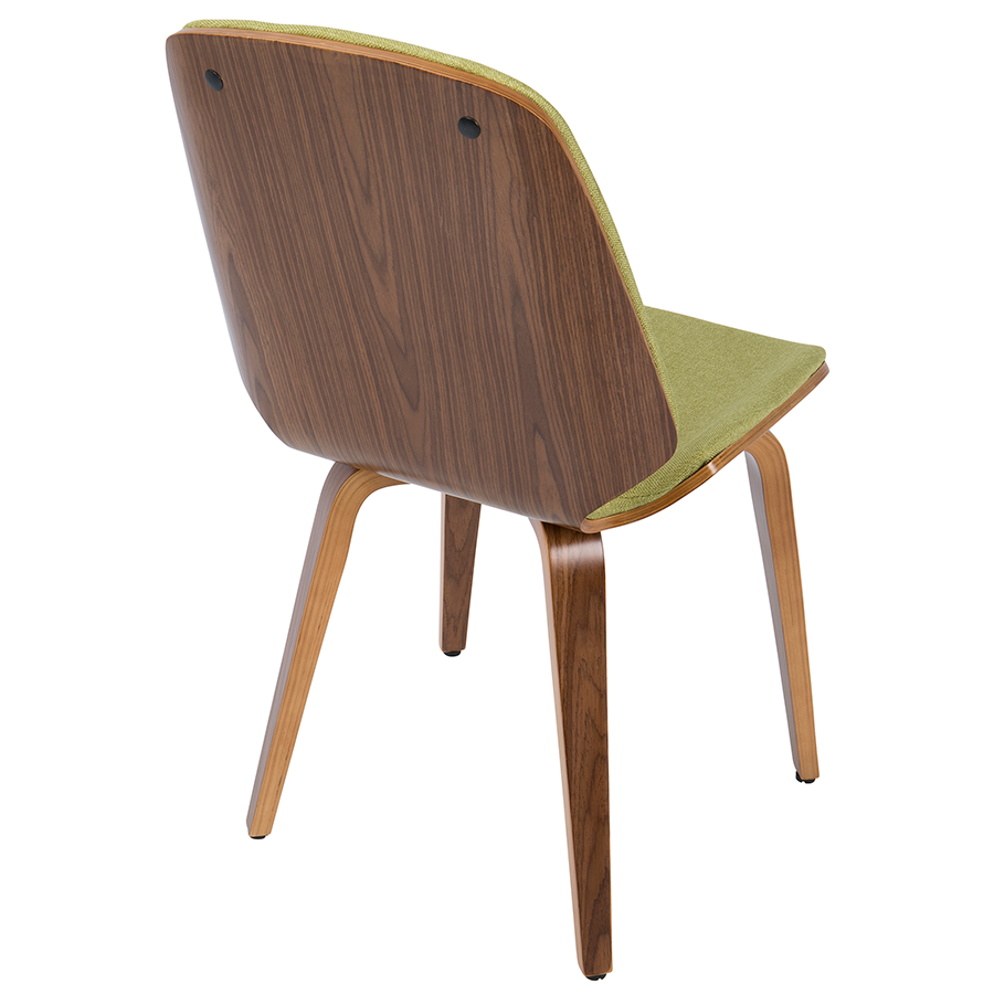 Satchel Green + Walnut Contemporary Side Chair