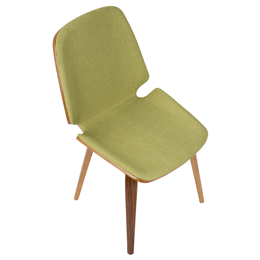 Satchel Green Fabric + Bent Walnut Contemporary Side Chair