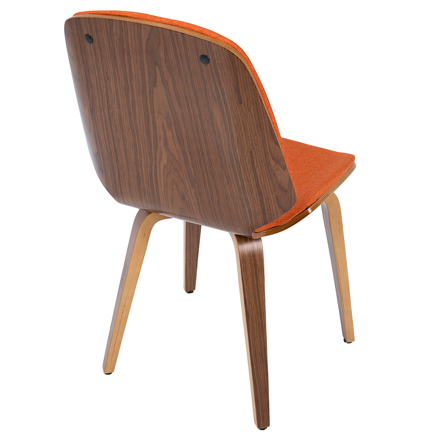 Satchel Orange Fabric + Walnut Contemporary Side Chair