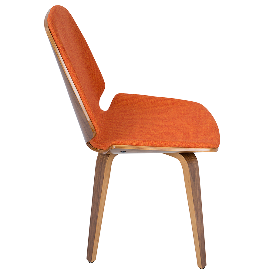 Satchel Orange Fabric + Walnut Modern Side Chair