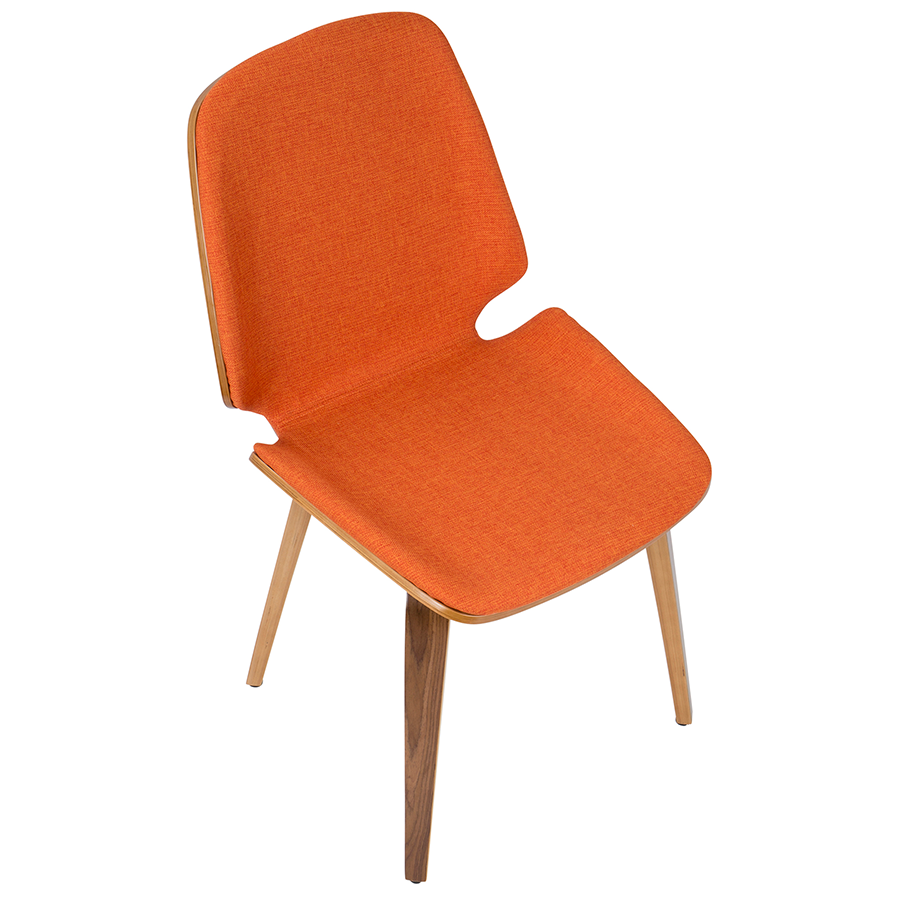 Satchel Orange Fabric + Bent Walnut Contemporary Side Chair