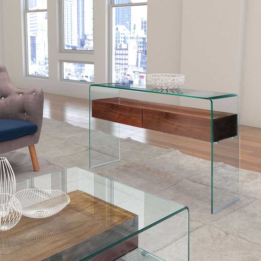 Saxon Walnut + Glass Contemporary Console