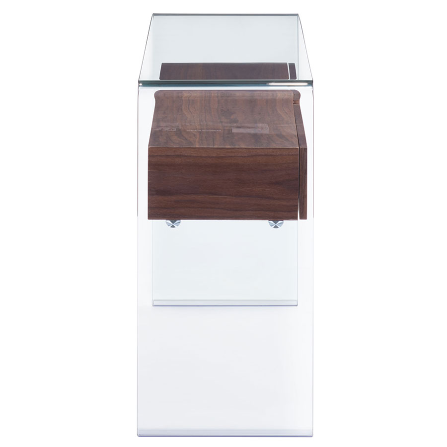 Saxon Walnut + Glass Modern Console