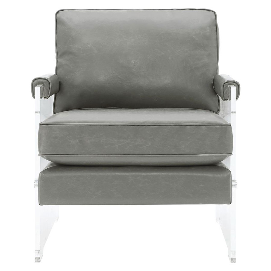 Saxony Lucite + Gray Eco Leather Modern Chair