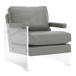 Saxony Clear Lucite + Gray Eco Leather Modern Chair
