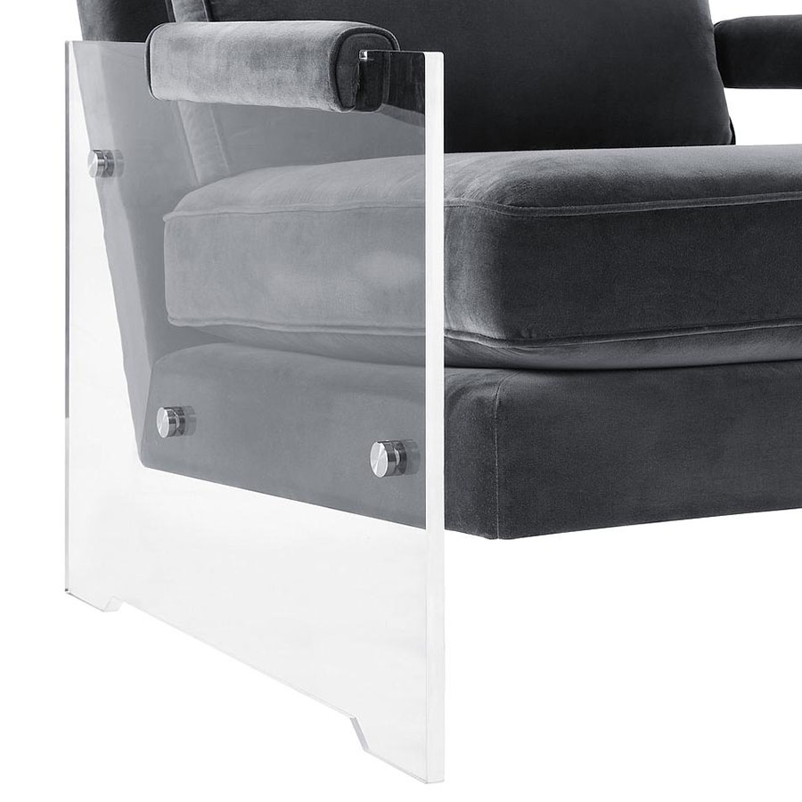 Saxony Modern Chair - Clear Lucite Leg Detail