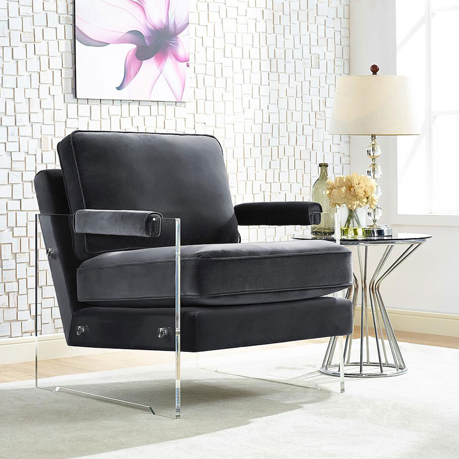 Saxony Contemporary Chair - Clear Lucite + Gray Velvet