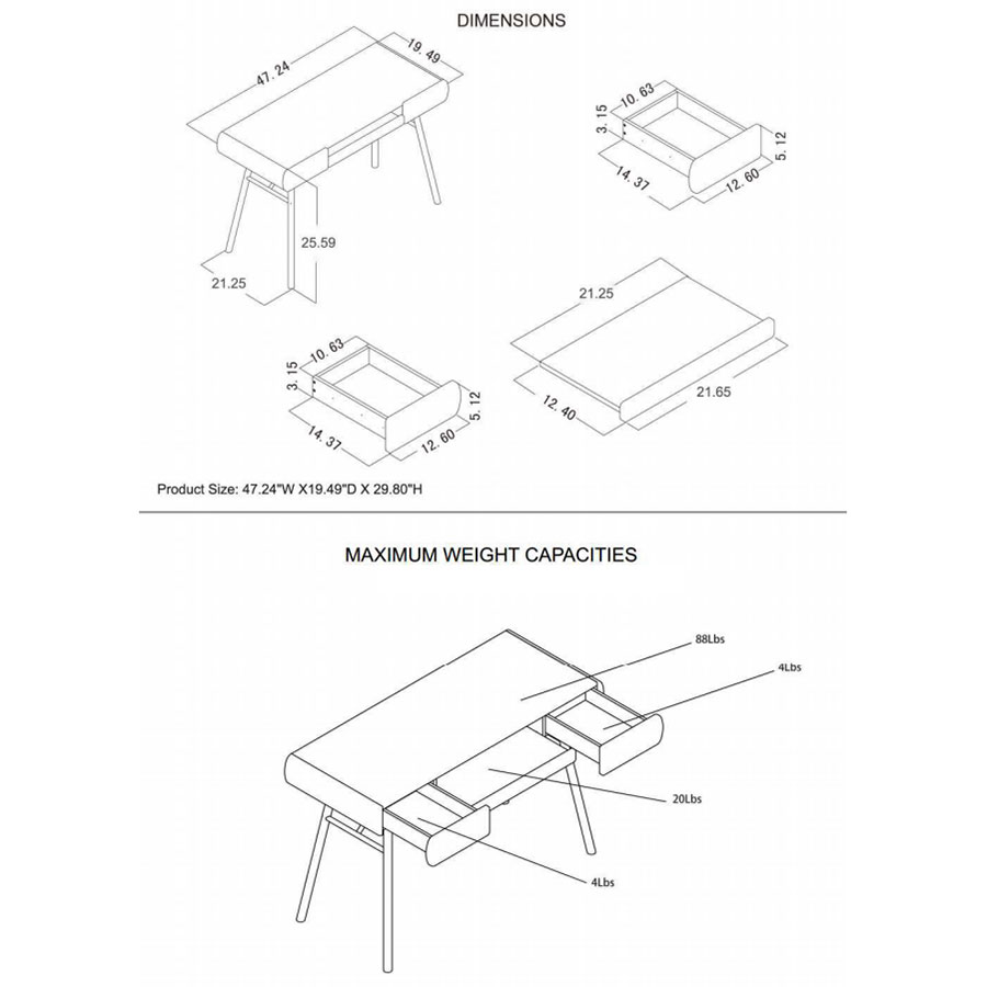 Scandinavia Modern Desk - Dimensions