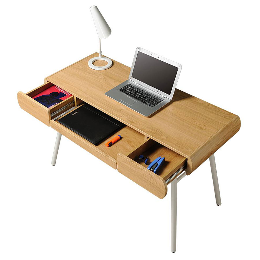 Scandinavia Modern Desk - Drawers Open
