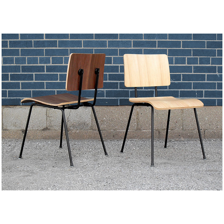 Modern School Dining Chairs in Walnut and Natural Oak