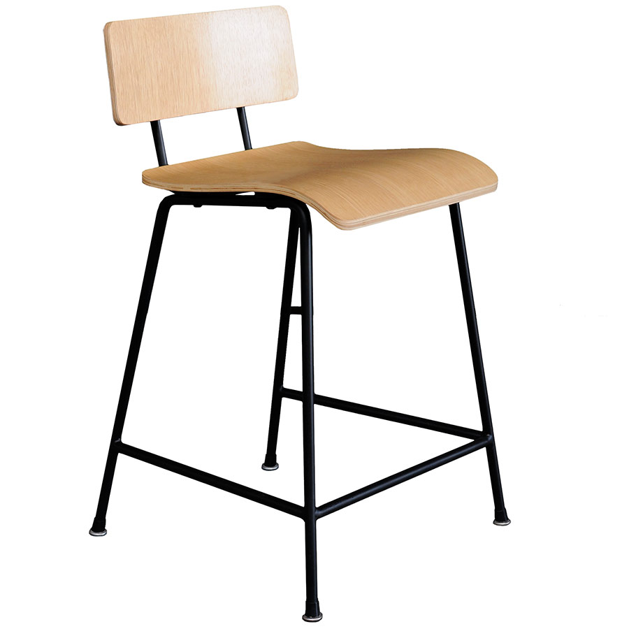 School Contemporary Counter Stool by Gus Modern in Natural Oak