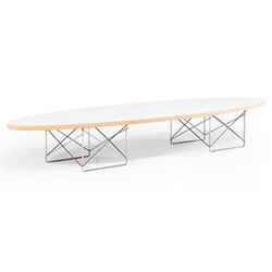 Schuman White Wood + Polished Steel Mid Century Modern Coffee Table
