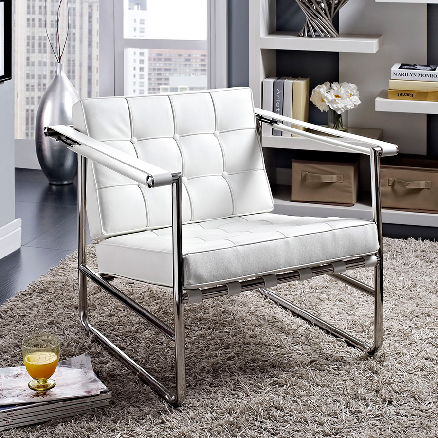 Seine Contemporary White Lounge Chair